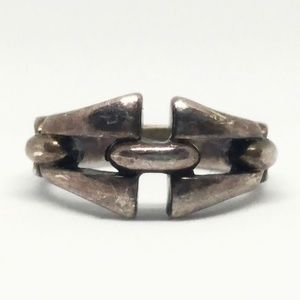 Sterling Silver Modernist Chain Link Ring